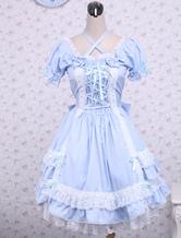 Algodão azul de mangas curtas laço renda algodão Lolita clássico vestido