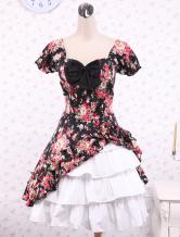 Lolita Kleid mit Herz-Ausschnitt und Rüschen in Multifarben