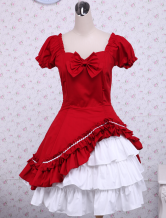 Lolitashow Cotton Red White Lolita OP Dress Short Sleeves Ruffles and Bows