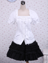 Cotton White Lolita Blouse And Black Lace Classic Lolita Skirt
