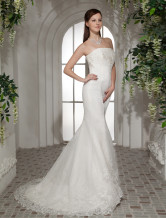 Gorgeous Mermaid Trumpet Strapless Beading Satin Organza Wedding Dress