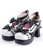 Black White Lolita Chunky Heels Shoes Platform White Trim Bows Ankle Strap