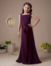 Purple Pleated Sash Satin Chiffon Flower Girl Dress
