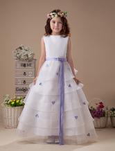 Sleeveless Sash Multi-layer Satin Organza Flower Girl Dress