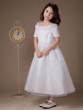 Sweet A-line White Satin Tea-Length First Communion Dresses