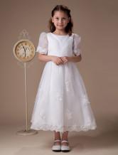 Blumenmädchen-Kleid in Weiß