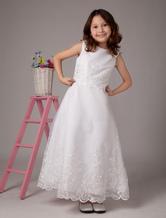 Blumenmädchen Kleid aus Satin in Weiß