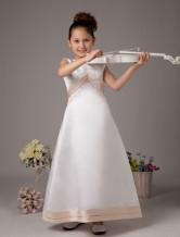 Robe sweet de fille de fleurs A-ligne blanche en satin avec col rond et ceinture