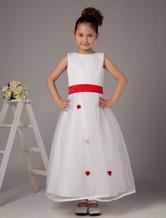 Cute White Sleeveless Sash Satin Organza Flower Girl Dress