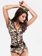 Anime Costumes AF-S2-162692 Halloween Sexy Deep V-neck Multi-Color Acrylic Spandex Women's Army Costume