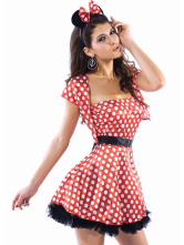 Anime Costumes AF-S2-88250 Women's Short Dress Red Minnie Mouse Acrylic Spandex Halloween Costume