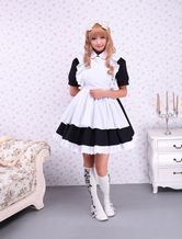 Cotton Black Maid Lolita OP Dress White Apron Short Sleeves