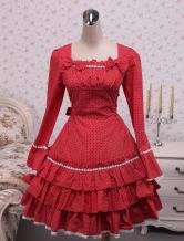 Cotone pizzo rosso Applique cotone Sweet Lolita Dress