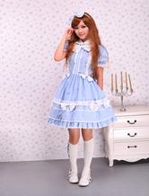 Luz azul de mangas curtas laço algodão doce Lolita Dress