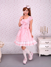 Falda de una pieza rosa de algodón estilo dulce con tirantes con volante fruncido