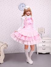 Хлопок розового кружева отдел связей лук Сладкая Лолита платье