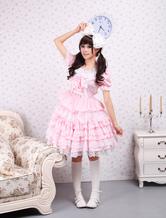 Lolitashow Cotton Pink Lace Sweet Lolita Dress