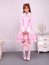 Lolitashow Cotton Pink Long Sleeves Sweet Lolita Dress