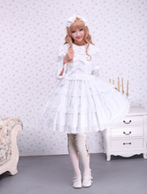 Pure White Lolita One-piece Dress Long Sleeves Layered Lace Trim