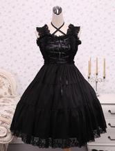 Lolitashow Pure Black Cotton Lolita Jumper Skirt Lace Trim Lace Up Waist Belt