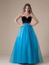 Blue Sweetheart Beading Organza Women's Prom Dress