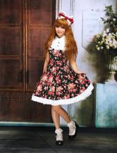 Robe de lolita cosplay Floral Coton Noire  Déguisements Halloween