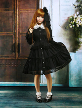 Lolitashow Black Cotton Lolita OP Dress Long Sleeves Round Collar Lace Trim
