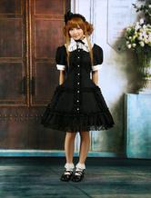 Vestido de algodão preto de mangas curtas laço Cosplay Lolita