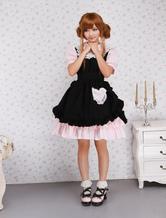 Lolitashow Cotton Pink And Black Lace Ruffles Punk Lolita Dress