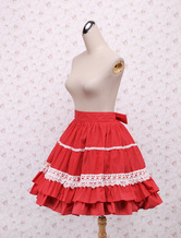 Lolitashow Cotton Red Lace Ruffles Bow Lolita Skirt