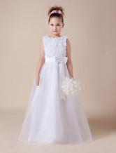 Vestido de niña de flores de tul blanco en línea A con escote redondo