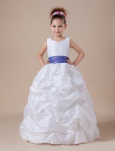 White Flower Girl Dress Taffeta Ruched Kids Formal Party Dress Sash Satin Ball Gown First Communion Dress