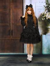 Reiner schwarz Baumwolle Lolita einteiliges Kleid Langarm Lace Up Lace Trim Bögen