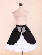 Cotton Black and White Lolita Skirt Multi-layer Sweet Bow