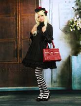 Puro algodão preto Lolita uma peça vestido mangas compridas babados guarnição