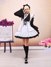 Lolitashow Black Cotton Lolita OP Dress and White Apron Long Sleeves with Lace Up