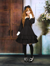 Lolitashow Cotton Black Lolita OP Dress Long Sleeves College School Style Ruffles