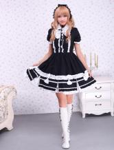 Cotton Black Lolita One-piece Dress White Bows Ruffles Trim