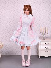 Colar de abertura de cama-de-rosa e branco laço frontal algodão doce Lolita Dress