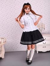 Bianco Camicetta maniche corte in cotone Lolita