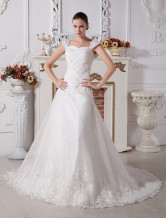 White A-line Sweetheart Cap Sleeves Lace Satin Wedding Dress