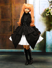 Lolitashow Algodão Halter Black Dress Gothic Lolita mangas Punk