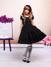 Cotton Black Lolita Dress Lace Classic
