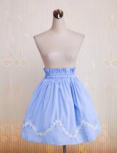 Blauer Baumwoll-Lolitarock mit gewellter Spitze