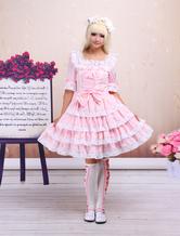 Dulce Rosa Lolita OP Vestido Midias Mangas con Encaje