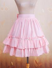 Cotton Pink Ruffles & Bow Lolita Skirt