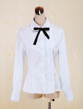 Lolitashow White Cotton Lolita Blouse Long Sleeves Turn-down Collar Bow