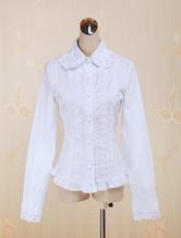 Cotton Lolita Bluse mit langen Ärmeln Spitze-Ordnungs-Turn-down-Kragen in Weiß