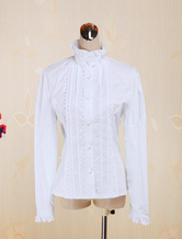 Lolitashow White Cotton Lolita Blouse Long Sleeves Stand Collar Lace Trim Ruffles