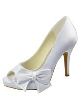 White Satin Bow Decoration Peep Toe Wedding Bridal Heels